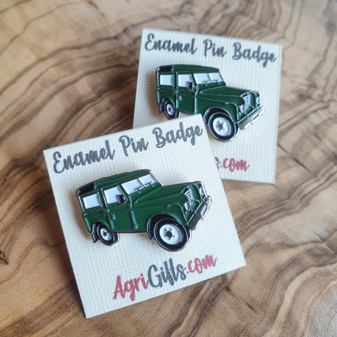 Enamel 'Green Land Rover' Badge Pin
