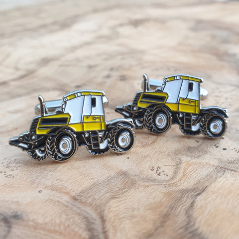 Enamel Gift Bagged Cufflink Set - Yellow Tractor