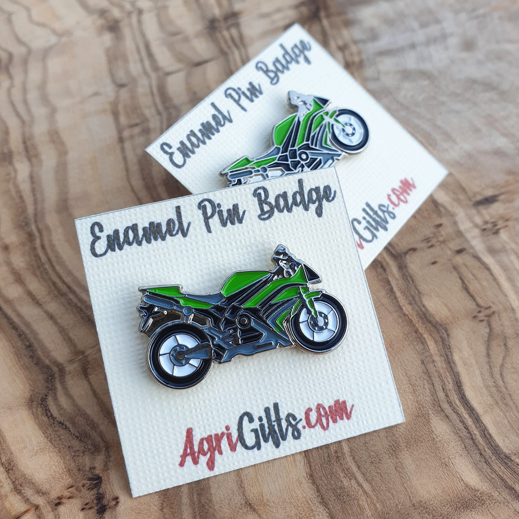 Enamel Green Motorcycle Superbike Badge Pin
