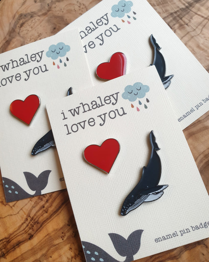 Whaley Love You, Whale & Heart Pin Gift Set