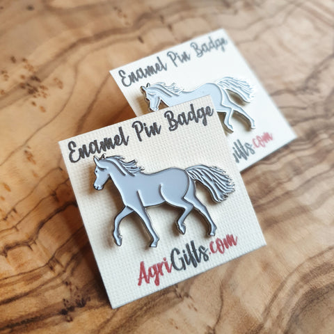 Enamel White Horse Badge Pin