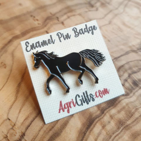 Enamel Black Horse Badge Pin