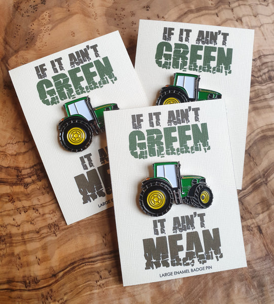 Large Size Enamel Badge Pin Gift Card, Green Tractor