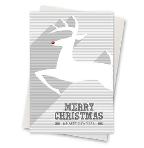Christmas Card - Deer Rudolph 'Merry Christmas & A Happy New Year'