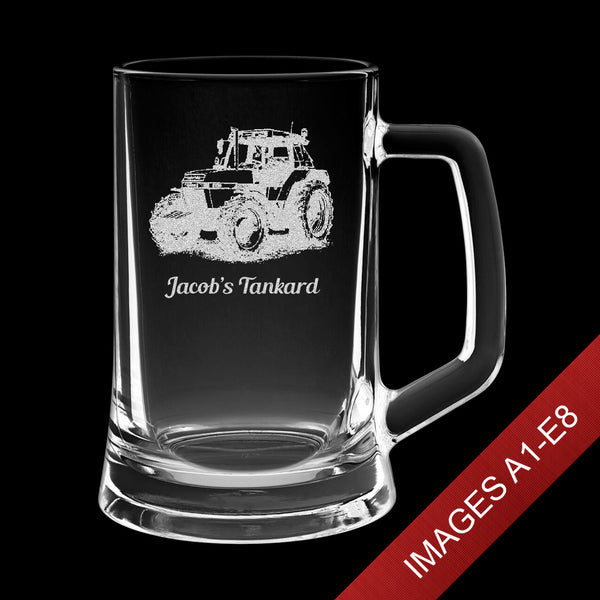 Large 23.5oz Engraved Tankard Glass In Gift Box - Image & Text (Images A1-E8)