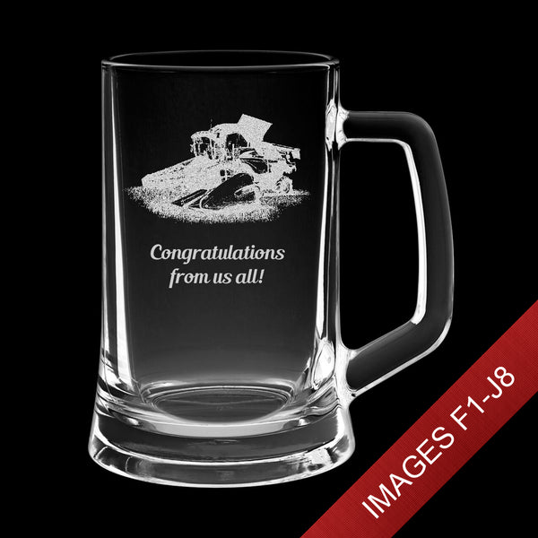 Large 23.5oz Engraved Tankard Glass In Gift Box - Image & Text (Images F1 - J6)