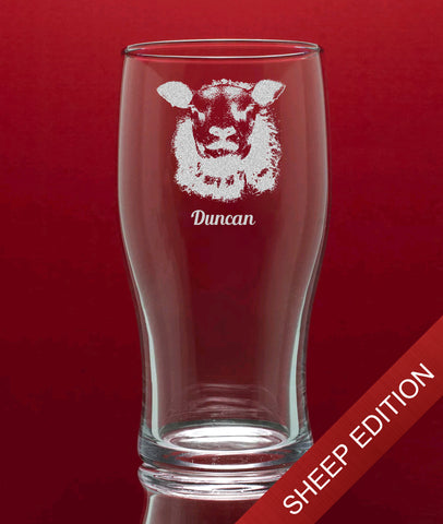 Engraved Tulip Pint Glass In Gift Box - Image & Text (Sheep Edition)