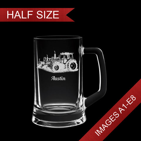 Small 14oz Engraved Tankard Glass In Gift Box - Image & Text (Images A1 - E8)