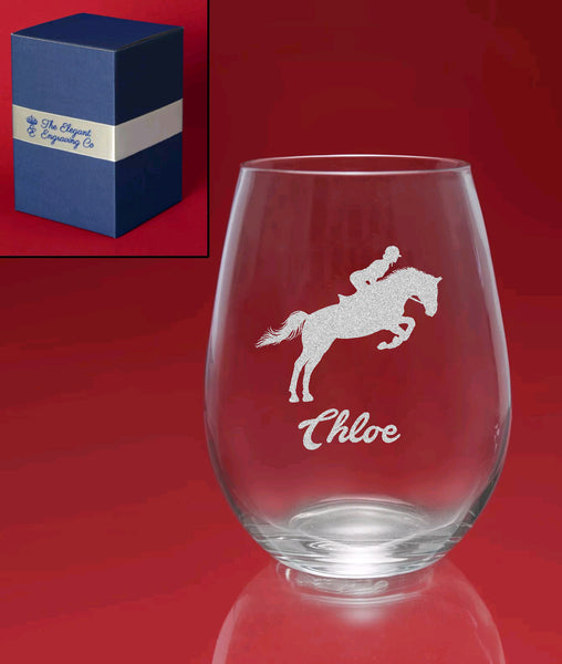 Engraved Stemless Wine Glass in Gift Box -Personalised Horse & Name