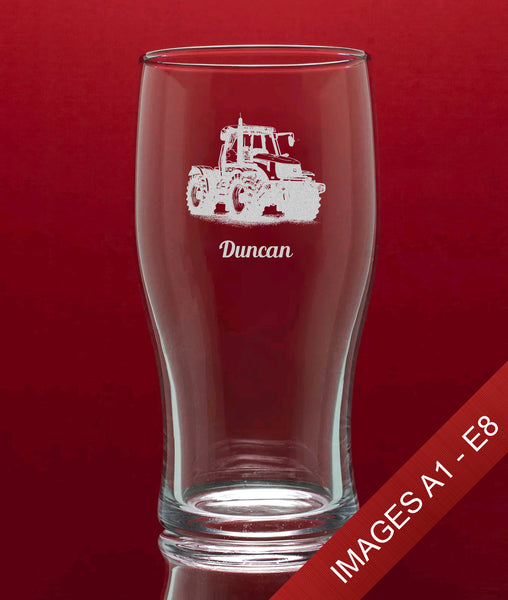 Engraved Tulip Pint Glass In Gift Box - Image & Text (Images A1 - E8)