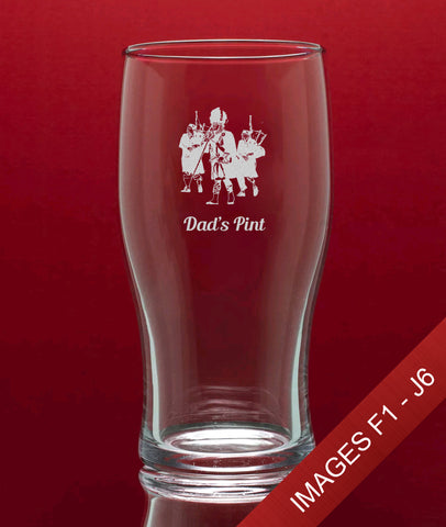 Engraved Tulip Pint Glass In Gift Box - Image & Text (Images F1 - J6)