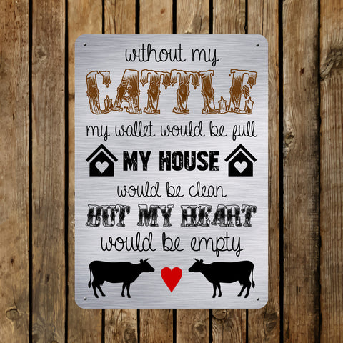 A5 Metal Sign - Aluminium Background 'Without My Cattle...'