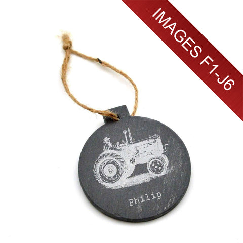 Engraved Slate Christmas Tree Bauble - Image & Text (Images F1 - J6)