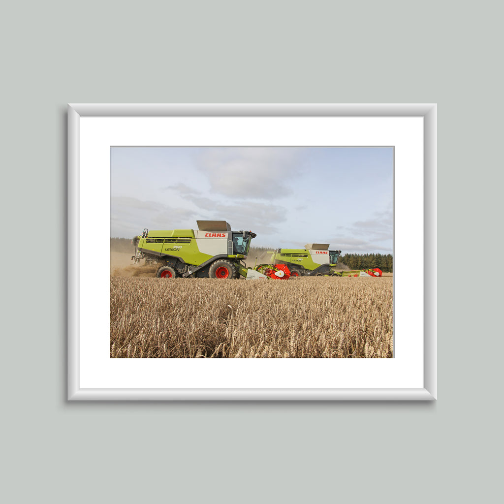 8x6 Mounted Print - Claas Combines