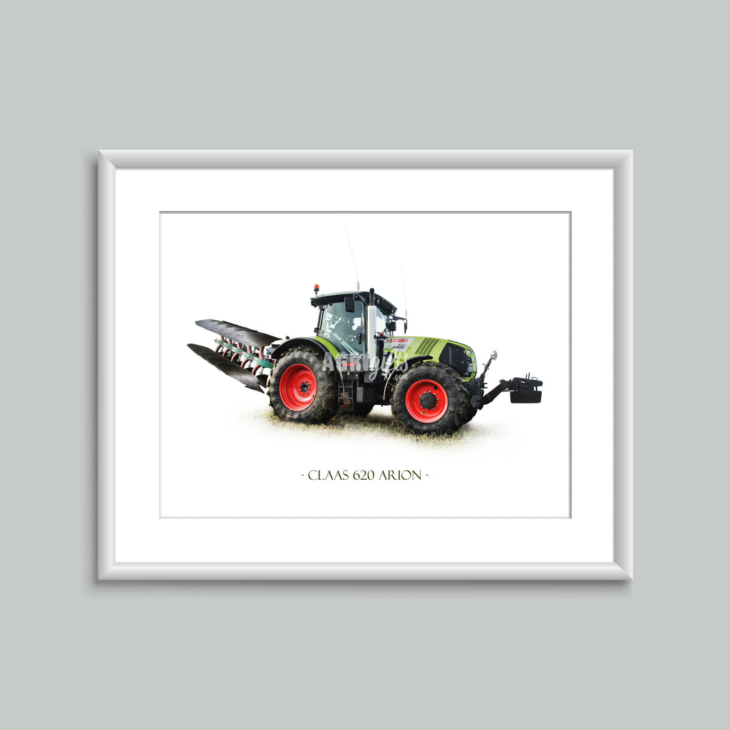 8x6 Mounted Print - Claas Arion 620 With Plough