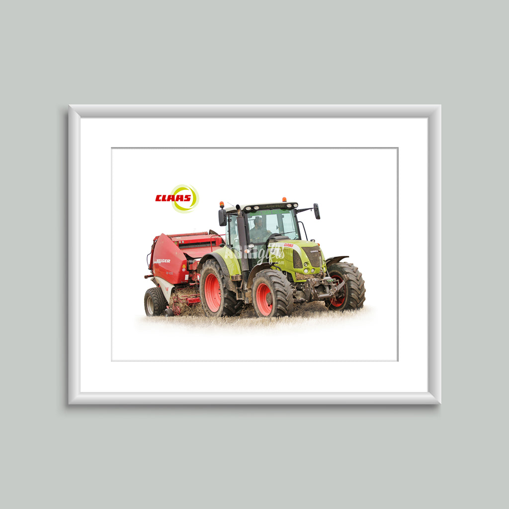 8x6 Mounted Print - Claas Arion 640 Baling
