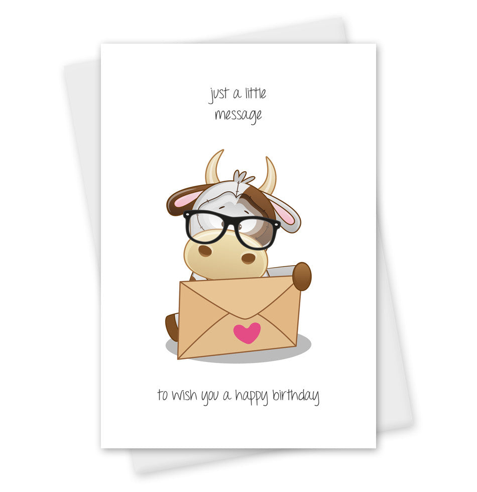 Birthday Card Wish You A Happy Cute Cow Agri Gifts UK
