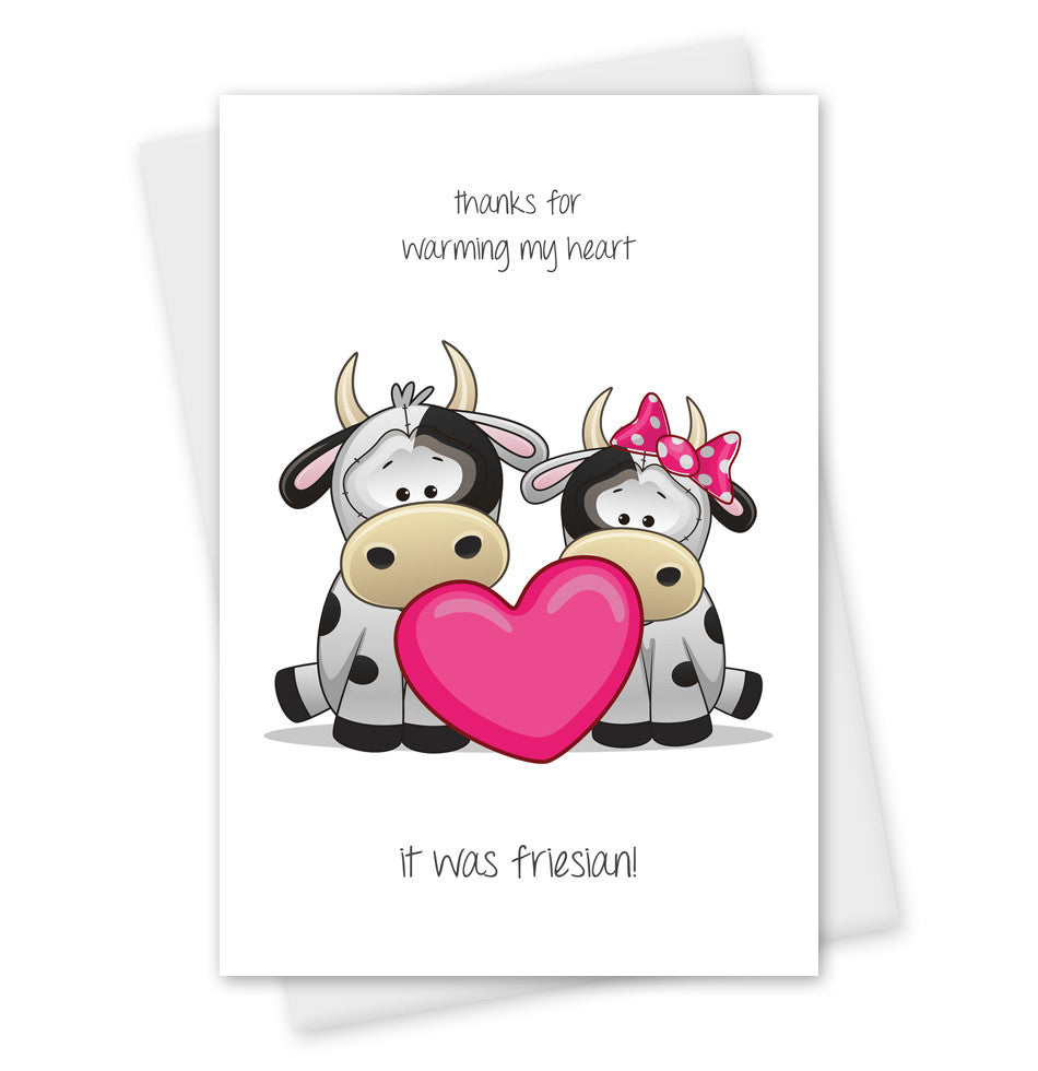Greetings Card 'Warming My Heart...' Cute Cow
