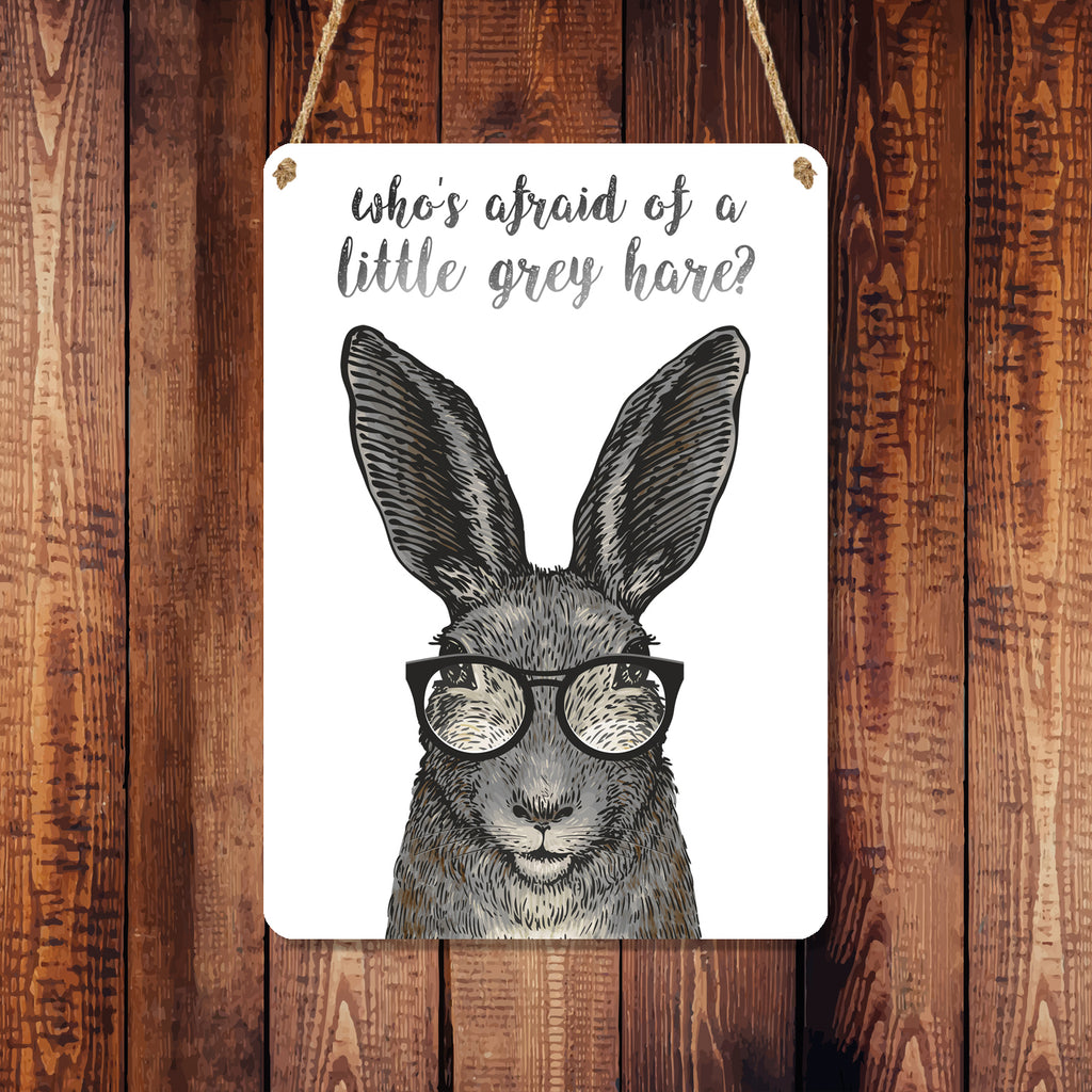 A6 Metal Hanging Sign - Little Grey Hare, Birthday