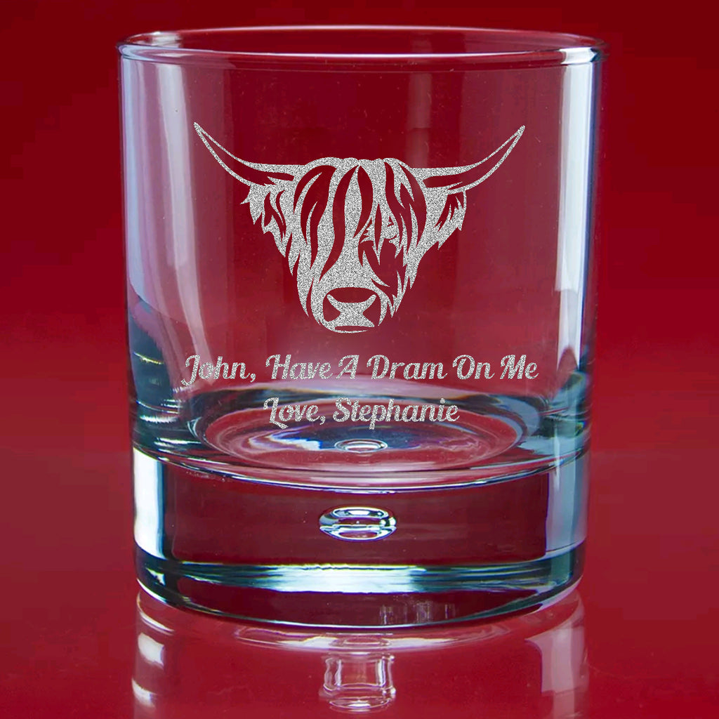 Engraved Whisky Glass In Gift Box - 'The Heelin Coo'