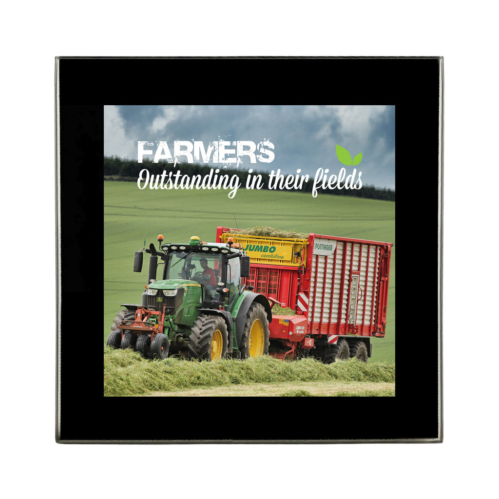 Glass Coaster - Tractor at Silage 'Farmers. Outstanding in their fields'
