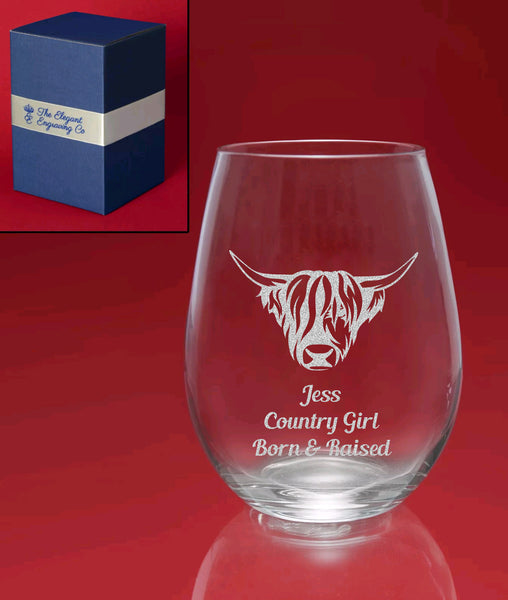 """The Heelin' For Her"" Highland Cow Engraved Stemless Wine Glass"