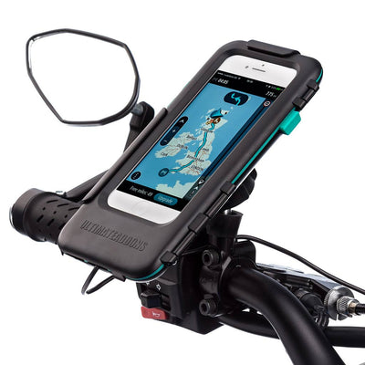 Motorcycle Metal Mirror Mount Tough Waterproof Case Kits - Apple iPhones