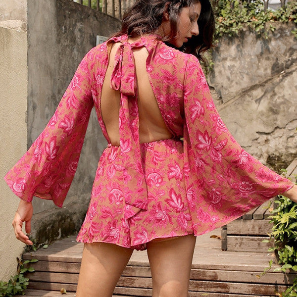 Backless Flared Floral Playsuit