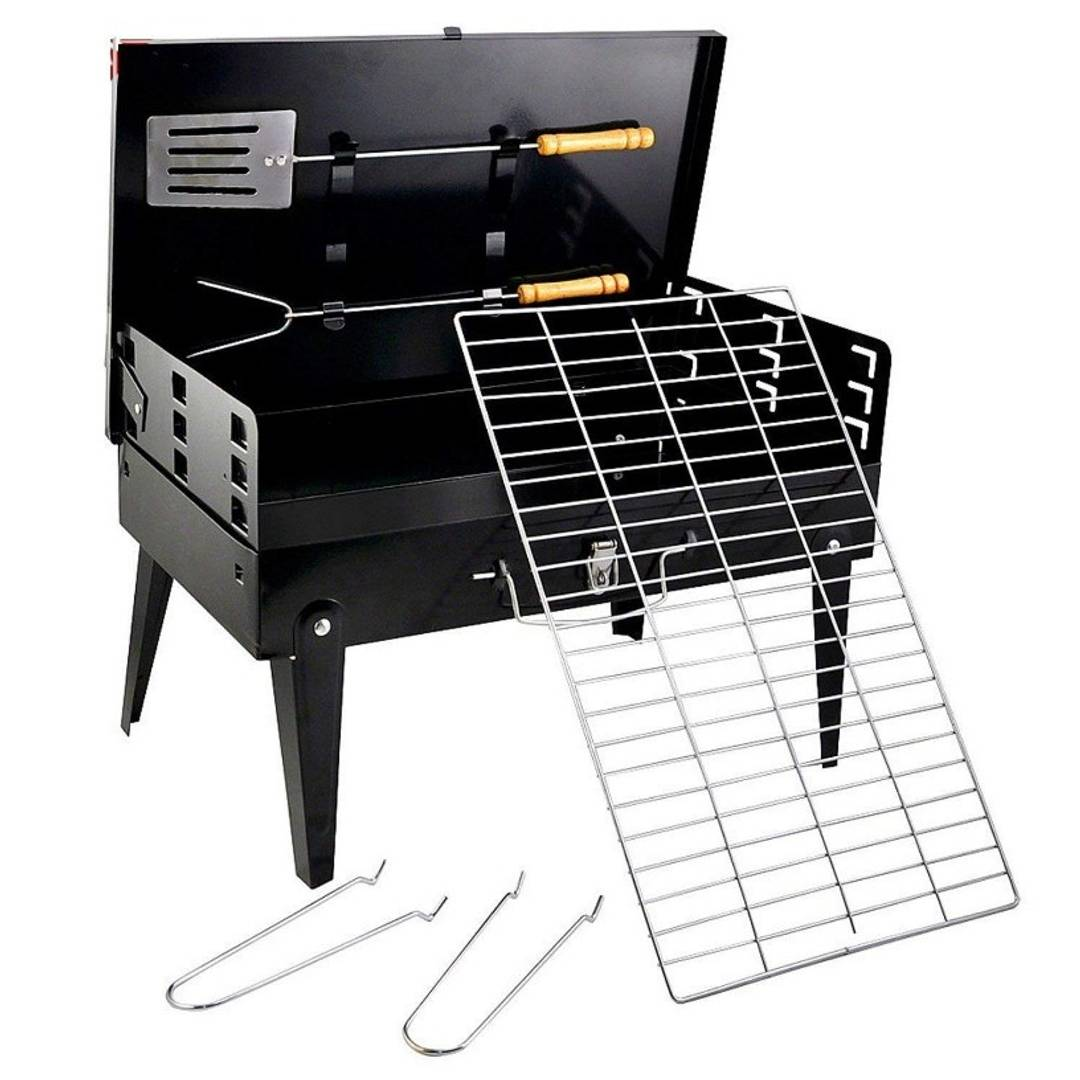 Charcoal Briefcase Style Portable Folding Chromium Steel Barbeque Grill Toaster Barbecue - BBQ