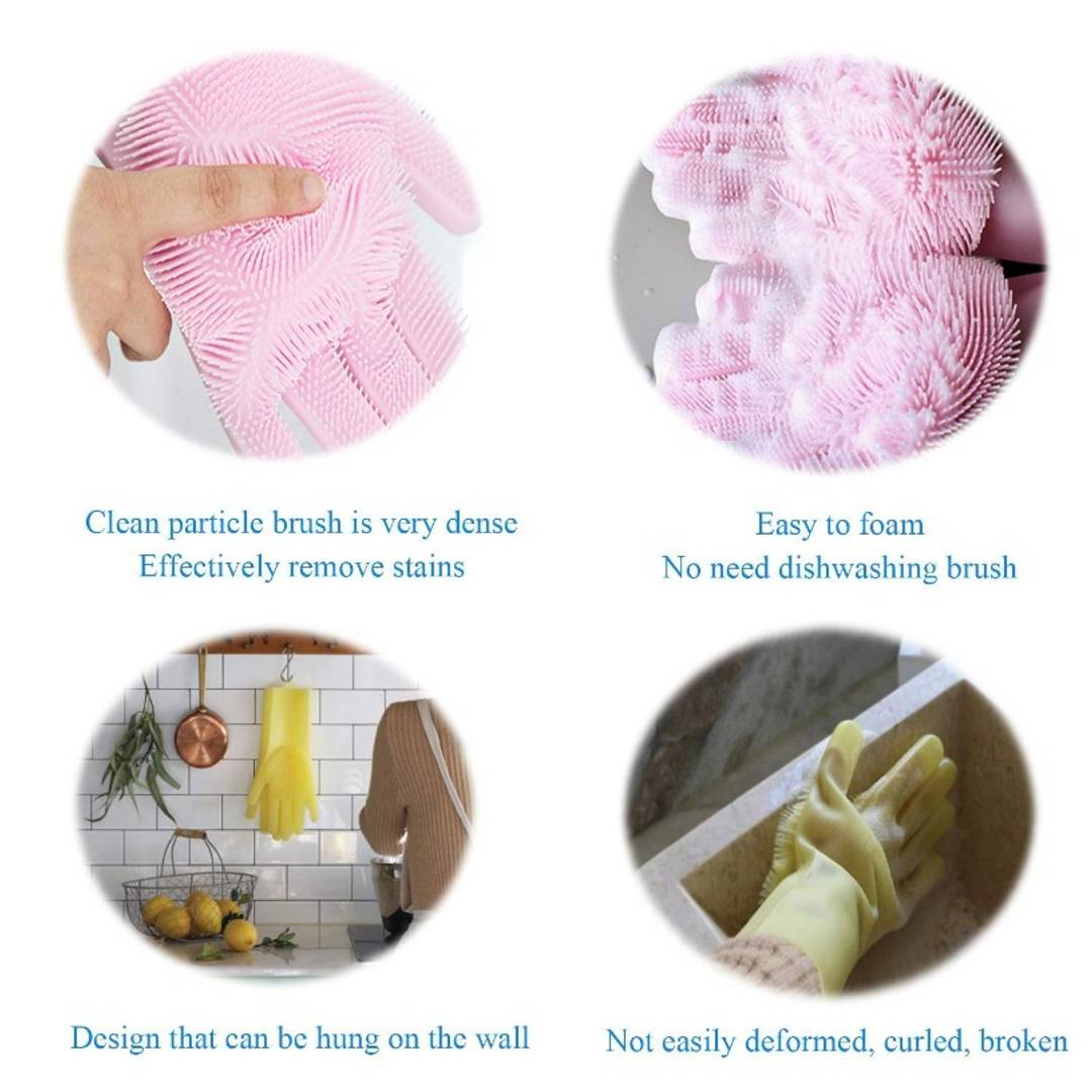 Magic Silicone Dish Washing Gloves (Pair)