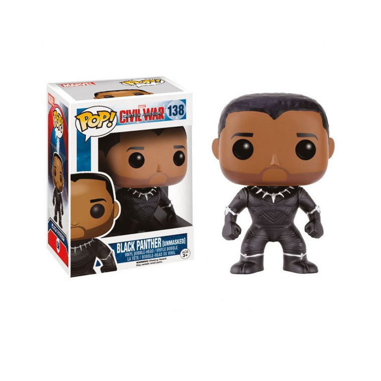 #138 Funko Pop BLACK PANTHER * UNMASKED * Captain America Civil War Vinyl Figure