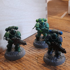 The finished painted models, green space marines