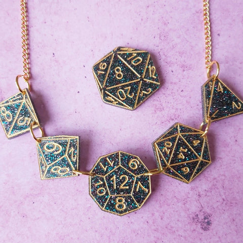 Hello Crumpet Dungeons and dragons dice necklace