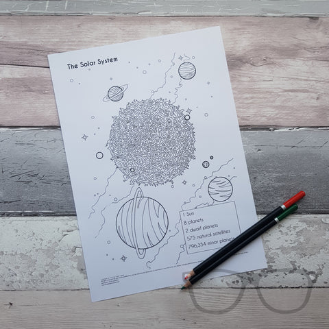 Solar System Colouring Page by Mini Geek Boutique