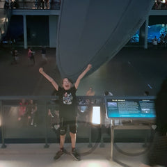 The Mini Geek being very excited about seeingn a life size blue whale at the American Museum of natural history