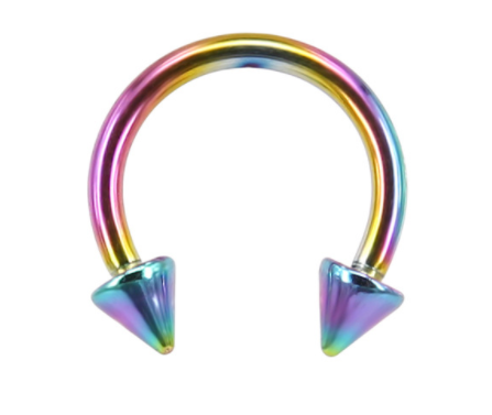 Circular Barbell Lip Ring - Spikes - Rainbow - Belly Button Rings Direct