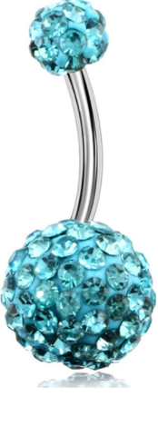 Disco Balls - Belly Button Ring - Aqua Blue - Belly Button Rings Direct