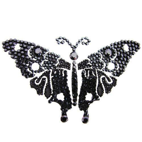 Vajazzle Butterfly Body Tattoo - Black Gems - Belly Button Rings Direct