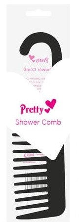 Pretty - Shower Comb with Hooked End (Black)