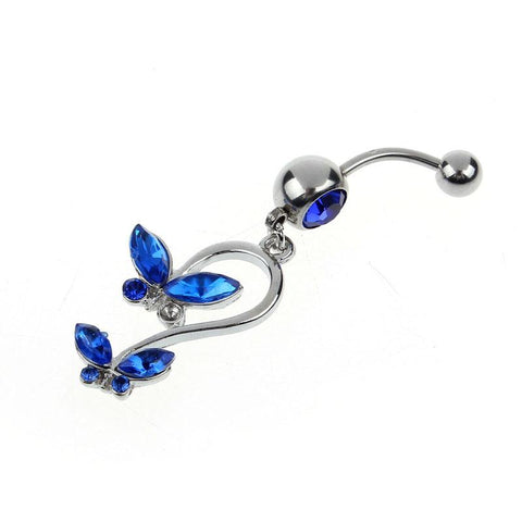 Dangly Crystal Gem - Double Butterfly Belly Ring - Blue - Belly Button Rings Direct