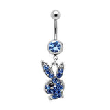 Dangly Playboy Belly Ring - Blue - Belly Button Rings Direct