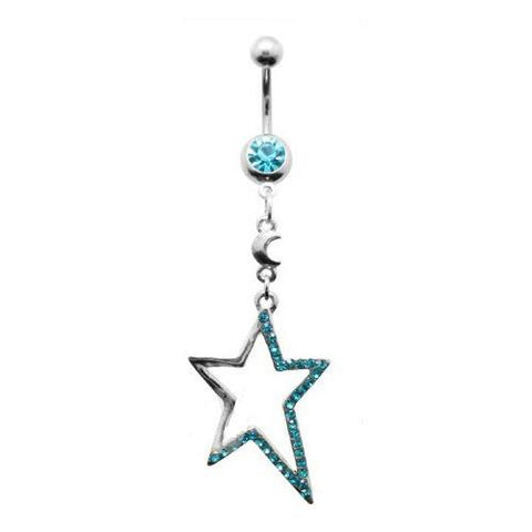 Dangly Crystal Gem - Star Belly Ring - Blue - Belly Button Rings Direct
