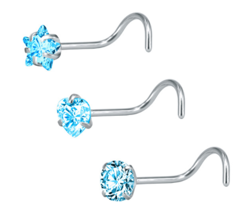 Screw Bar Nose Stud - Star, Heart, Round - Blue - Belly Button Rings Direct