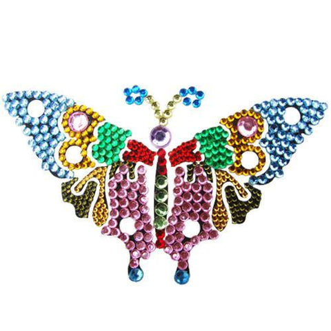 Vajazzle Butterfly Body Tattoo - Rainbow Gems (Type 1) - Belly Button Rings Direct