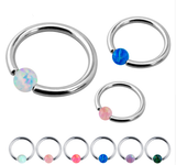 Captive Beads Lip Ring - Opal Ball - Belly Button Rings Direct