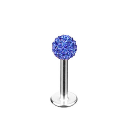 Labret Studs - Disco Ball - Sapphire Blue - Belly Button Rings Direct