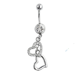 Dangly Crystal Gem - Double Love Heart Belly Ring - Clear - Belly Button Rings Direct
