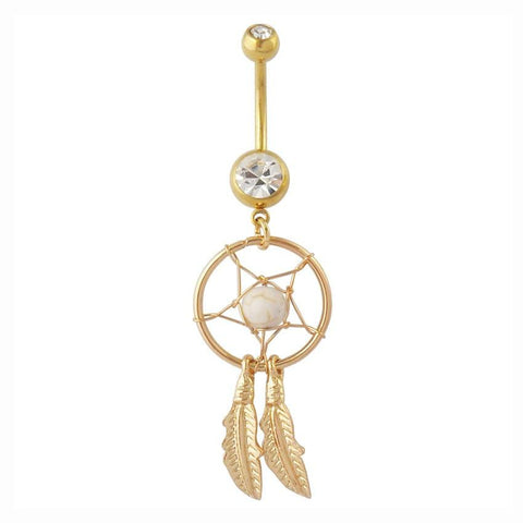 Dangly Dream Catcher - Belly Ring - White - Belly Button Rings Direct