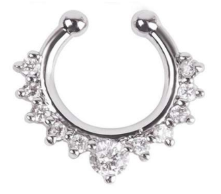 Fake Septum Hoop Nose Ring - Silver With Clear Gem - Belly Button Rings Direct