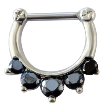 Fake Clicker Septum Nose Ring - Silver with paved black gems - Belly Button Rings Direct